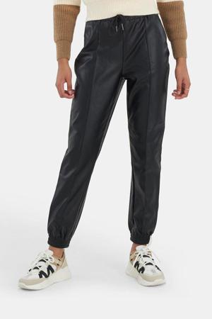 imitatieleren cropped slim fit broek Pintuck zwart