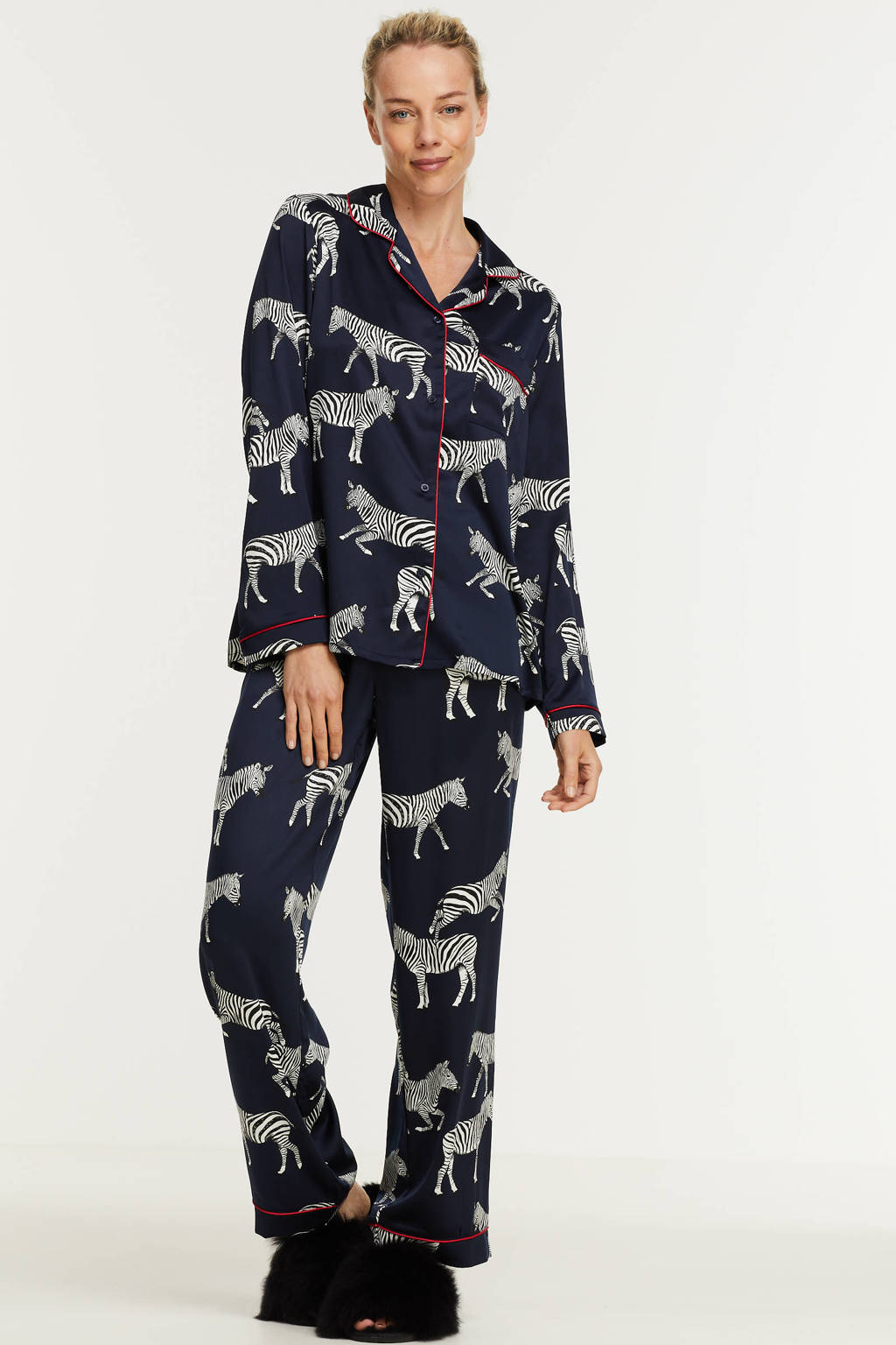 Chelsea Peers satijnlook pyjama Zebra met dierenprint donkerblauw/wit, Donkerblauw/wit
