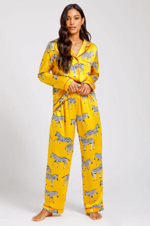 satijnlook pyjama Zebra met dierenprint geel/wit