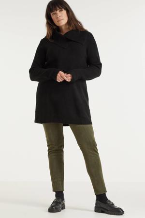 gemêleerde gebreide trui zwart