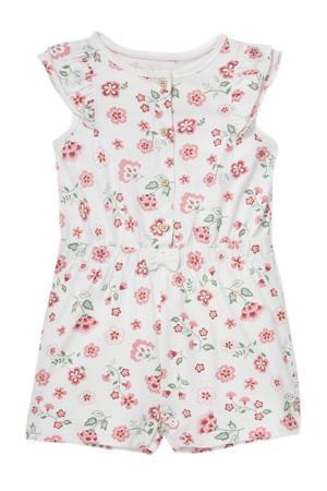 gebloemde jumpsuit wit/roze
