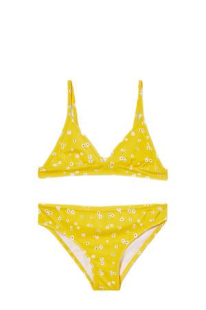 triangel bikini met all over print geel