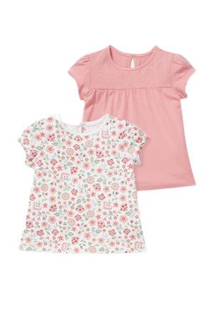 T-shirt - set van 2 roze/wit