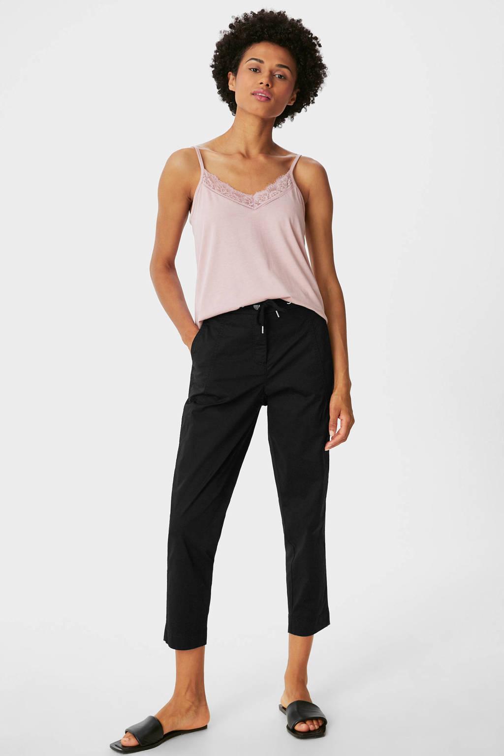 C&A Yessica cropped regular fit broek zwart, Zwart