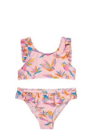 crop bikini met all over print en ruches roze