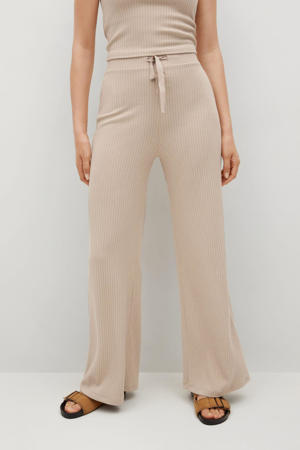 high waist wide leg palazzo broek beige