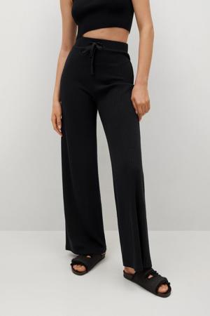 high waist wide leg palazzo broek zwart