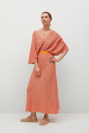gebreide maxi jurk met vleermuismouwen oranje/roze/blauw