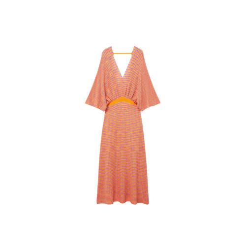 Mango gebreide maxi jurk met vleermuismouwen oranje/roze/blauw