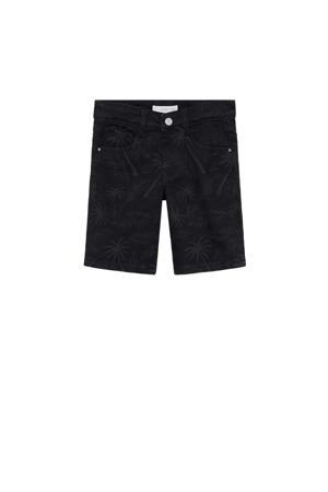 jeans bermuda met all over print zwart