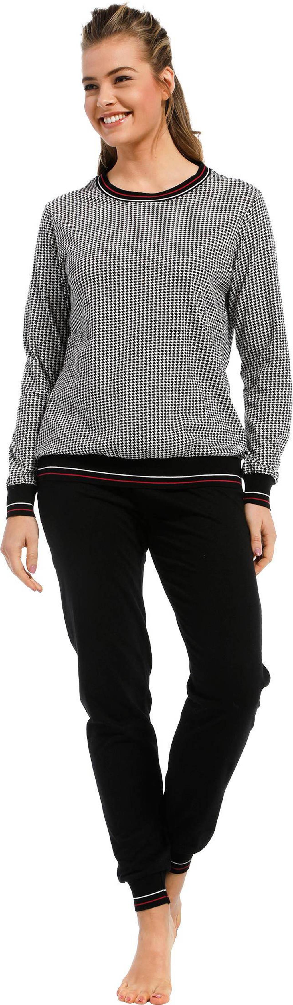 Pastunette pyjama met pied de poule print zwart, Zwart
