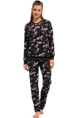 pyjama met bloemen zwart