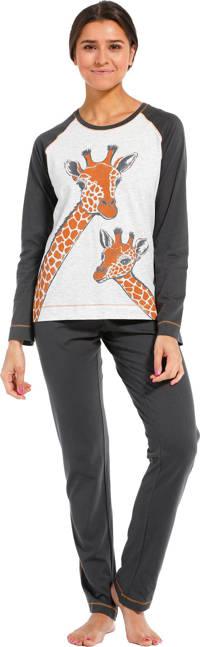 Rebelle pyjama met printopdruk donkergrijs/grijs, Donkergrijs/grijs