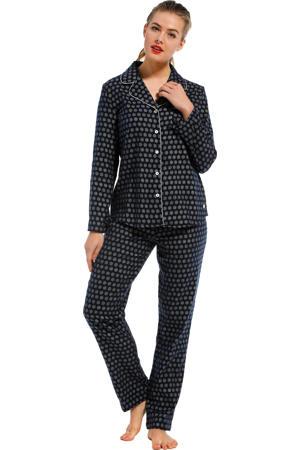 flanellen pyjama met all over print donkerblauw