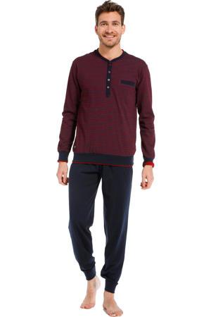 pyjama met all over print donkerrood/donkerblauw
