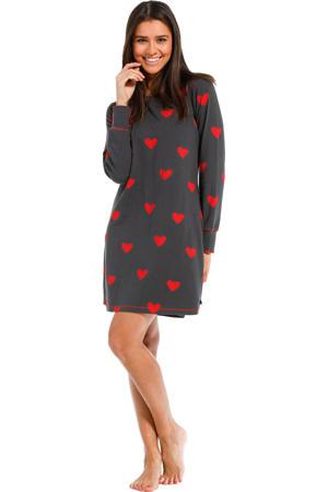 nachthemd met hartjes donkergrijs/rood