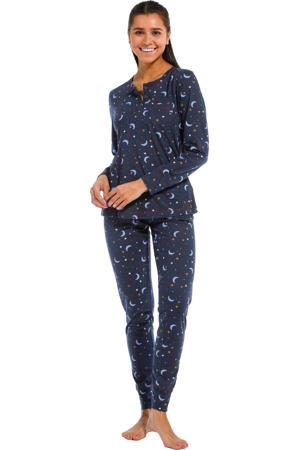 pyjama met all over print donkerblauw