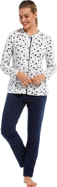 Pastunette pyjama met stippen gebroken wit/donkerblauw