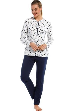 pyjama met stippen gebroken wit/donkerblauw