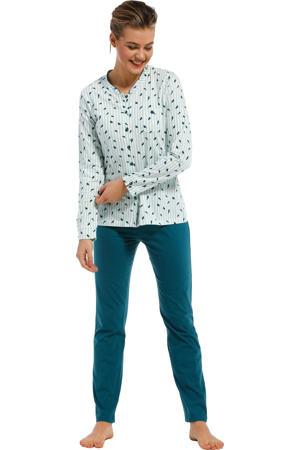 pyjama met all over print turquoise/petrol