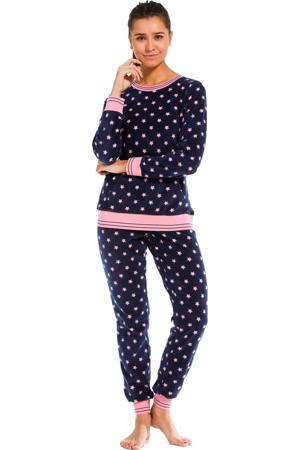 fleece pyjama met sterren donkerblauw/roze