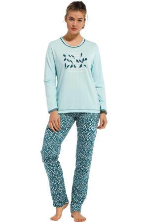 pyjama met printopdruk turquoise