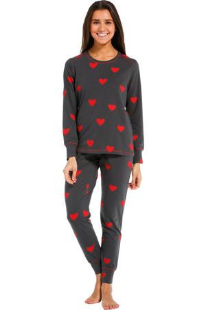 pyjama met hartjes donkergrijs/rood