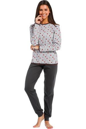 pyjama met strepen en hartjes grijs/wit