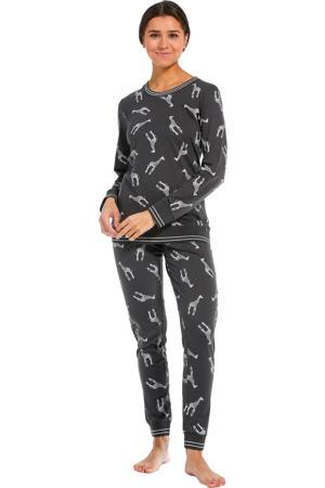 pyjama met all over print donkergrijs