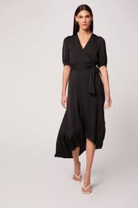 Morgan jurk in satijn met plooien zwart, Zwart
