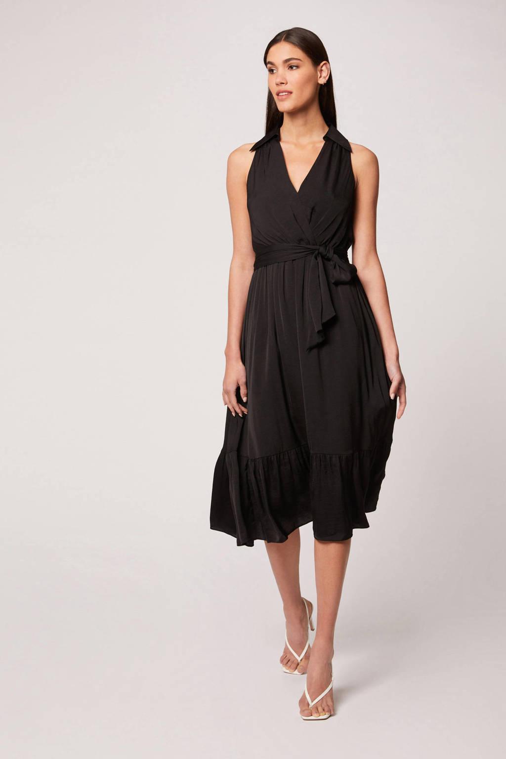 Morgan jurk met plooien zwart, Zwart