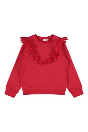 sweater NKFOELIA met ruches rood