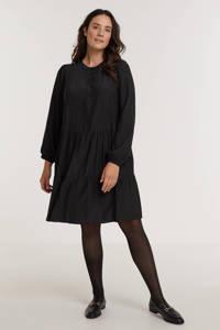Zhenzi semi-transparante trapeze jurk PAIGE 472 met volant zwart, Zwart