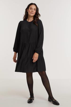semi-transparante trapeze jurk PAIGE 472 met volant zwart
