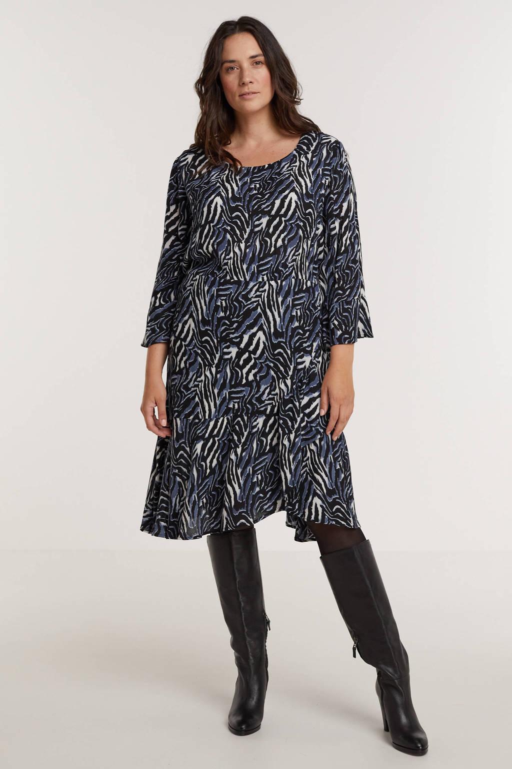 Zhenzi A-lijn jurk NOVAH 468 met zebraprint en volant blauw/wit/zwart, Blauw/wit/zwart