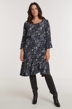 A-lijn jurk NOVAH 468 met zebraprint en volant blauw/wit/zwart