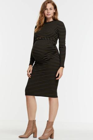 gestreepte zwangerschapsjurk bruin