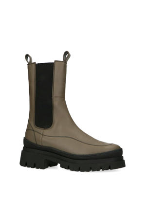 hoge leren chelsea boots kaki