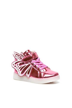 hoge sneakers met lichtjes roze/metallic