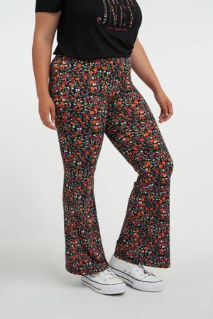 Plus Size flared legging met bloemenprint