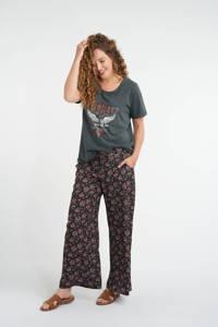 MS Mode gebloemde loose fit palazzo broek zwart/roze/wit, Zwart/roze/wit