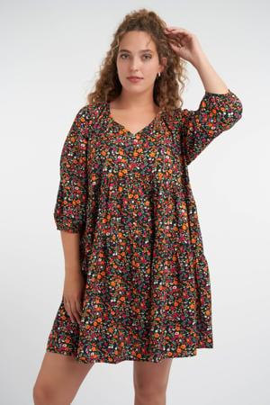 gebloemde A-lijn jurk zwart/fuchsia/oranje