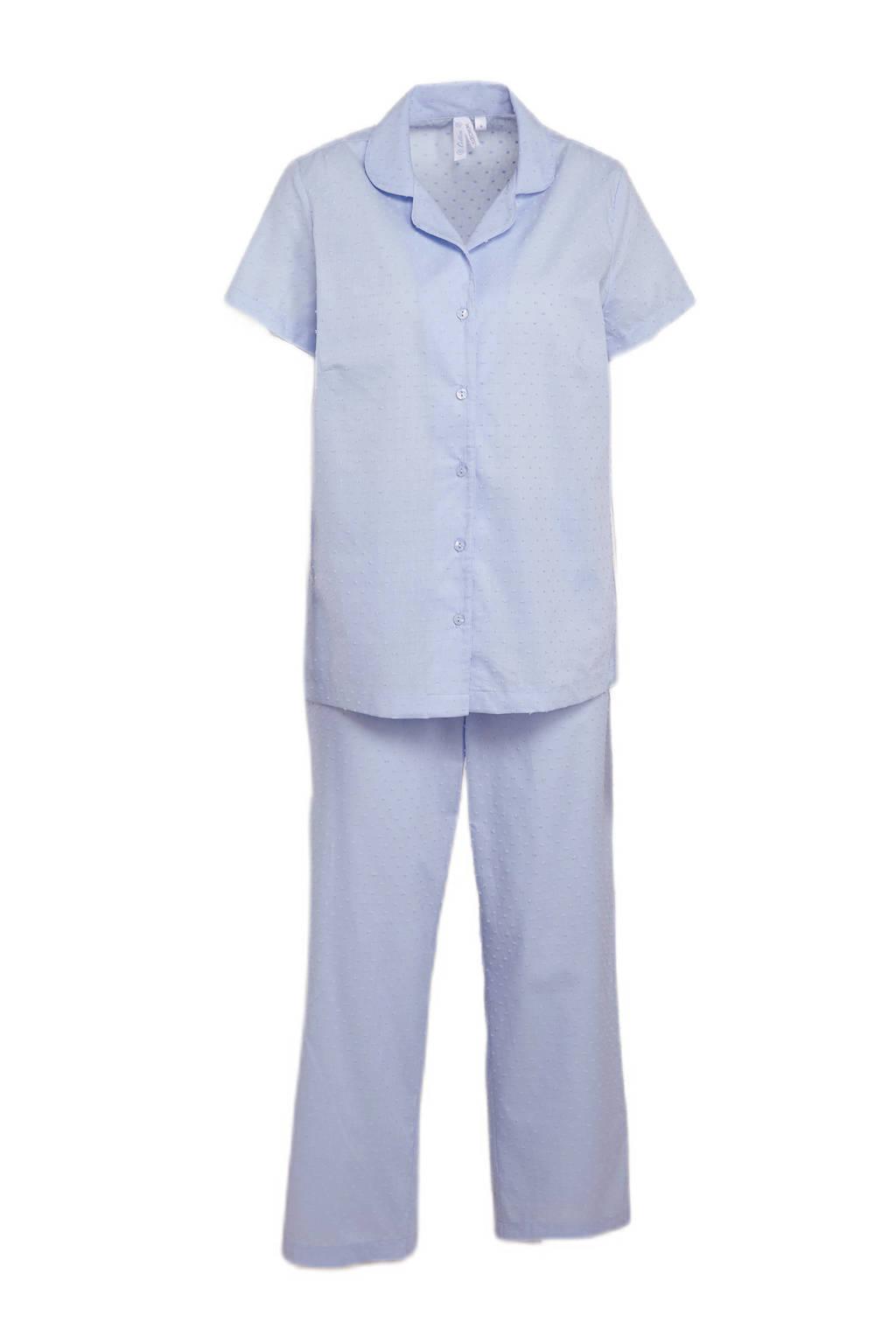 C&A pyjama met textuur lichtblauw, Lichtblauw