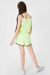 C&A Here & There jumpsuit met zijstreep limegroen, Limegroen