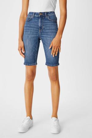 high waist slim fit bermuda jeans blauw