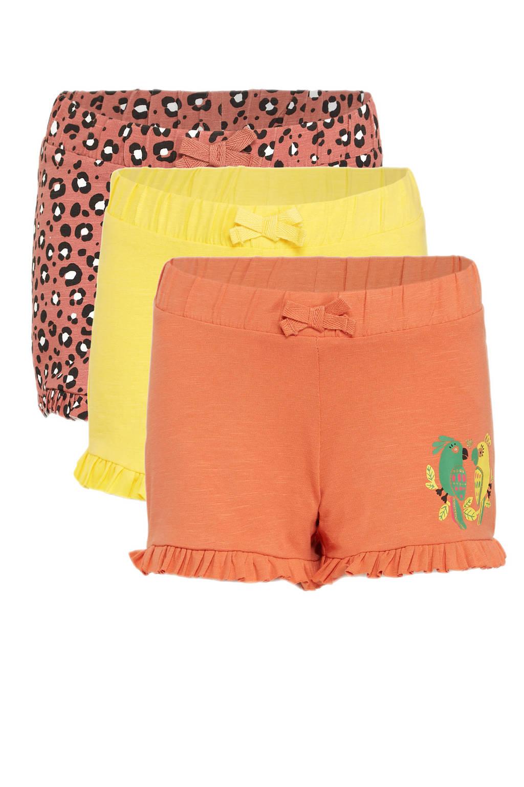 C&A Happy girls Club korte broek - set van 3 geel/oranje/brique, Oranje/geel/brique