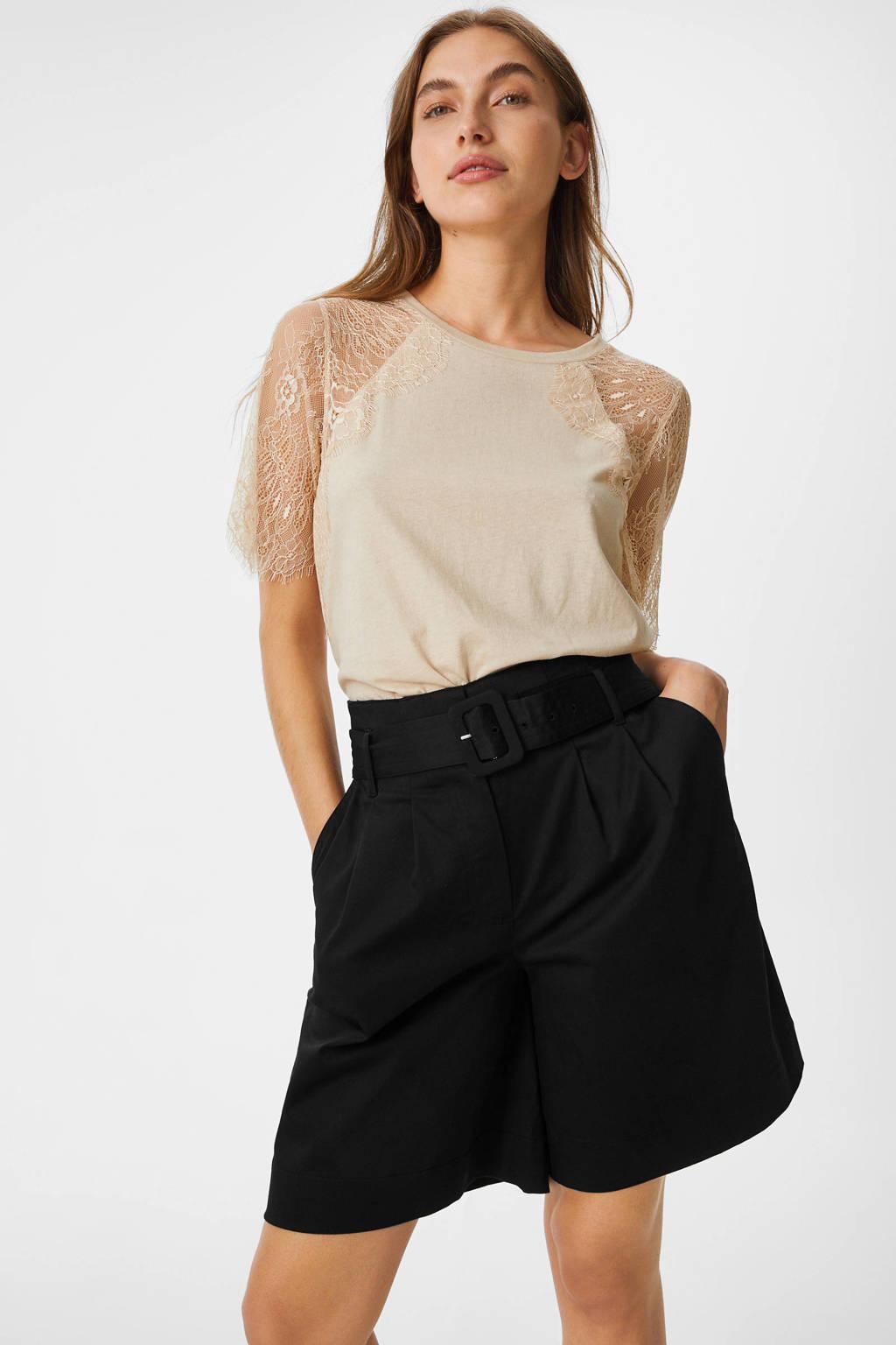 C&A YESSICA PREMIUM high waist wide leg bermuda zwart, Zwart