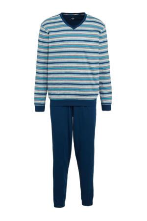 pyjama met strepen lichtblauw/donkerblauw