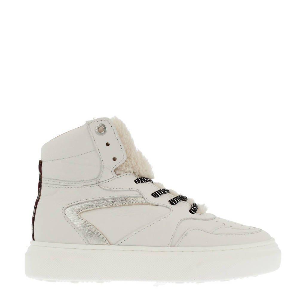 Red Rag 13144  hoge leren sneakers off white, Wit/Off white