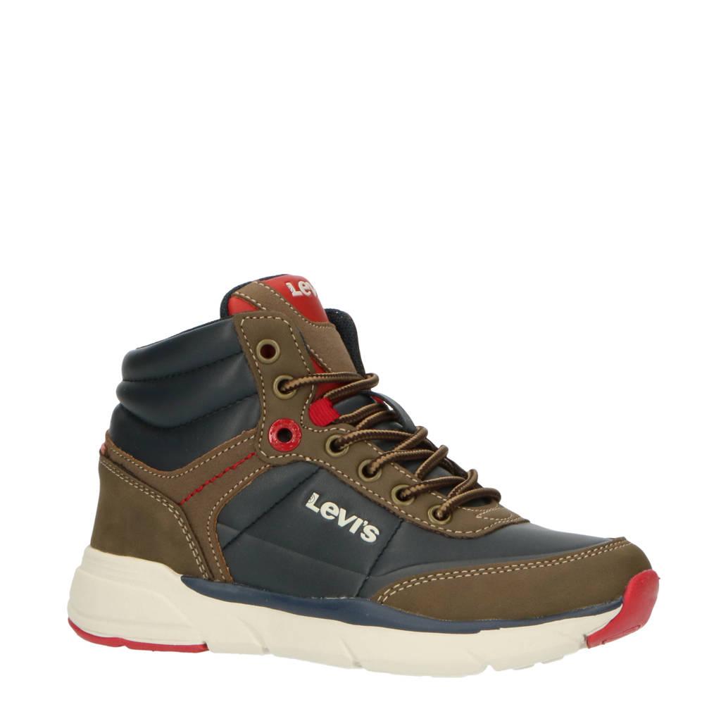 Levi's Kids Parry Mid 421 K  hoge sneakers bruin/blauw, Bruin/blauw